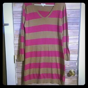 Old Navy Brown and Magenta Sweater Dress Large